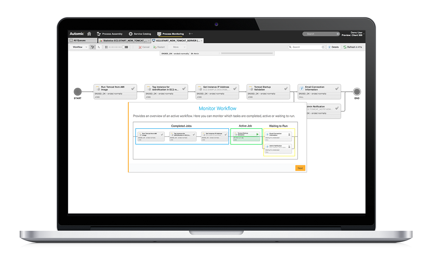 Workload Automation Workflow Preview Screen
